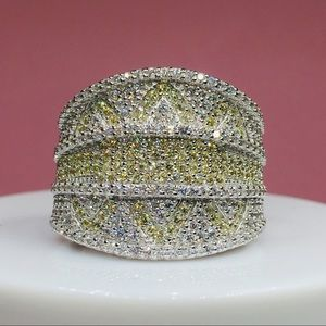 14k white gold diamond pave band ring cocktail